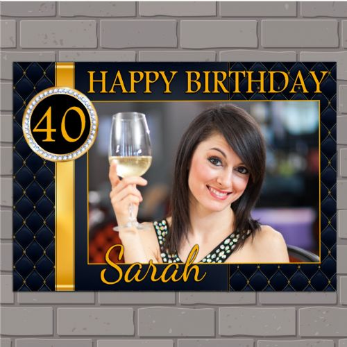 Personalised Black & Gold Diamonds Happy Birthday PHOTO Poster Banner N143